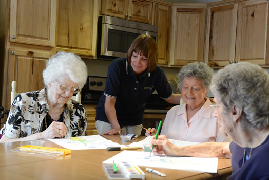 Residents painting together