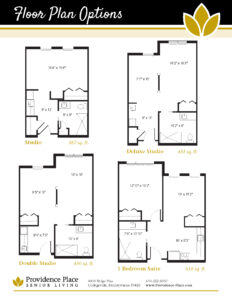 Providence Place at the Collegeville Inn floor plans showing studio, deluxe studio, double studio, and one bedroom suite options