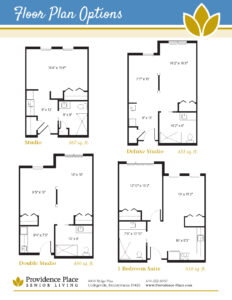 Providence Place at the Collegeville Inn floor plans including studio, deluxe studio, double studio, and one bedroom suite