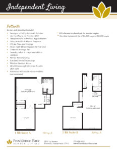 Floor plans for Providence Place's Pottsville independent living community
