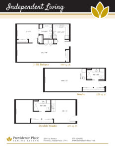 Floor plans for Providence Place of Pottsville with one bedroom deluxe, studio, and double studio options