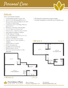 Providence Place of Pottsville personal care floor plans showing one bedroom suite A and one bedroom suite B