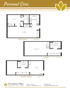 Providence Place of Pottsville floor plans showing studio, double studio, and one bedroom deluxe options