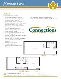 Providence Place of Pottsville memory care floor plans showing studio and double studio options